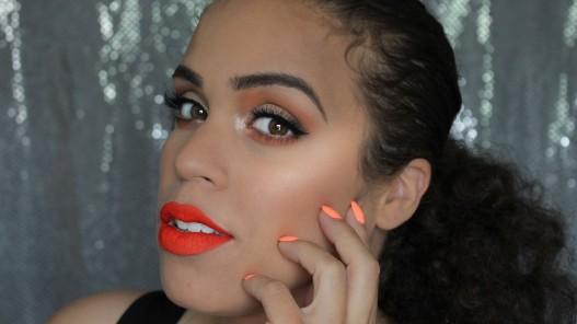 bright orange lips